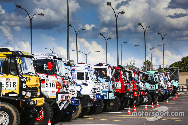 Trucks ready for the Start Podium