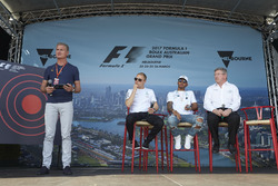 David Coulthard, Channel 4 F1, interviews Valtteri Bottas, Mercedes AMG, Lewis Hamilton, Mercedes AMG, and Ross Brawn, Managing Director of Motorsports, FOM, on stage