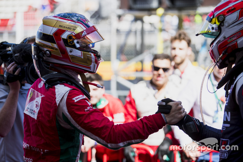 Race winner Charles Leclerc, PREMA Powerteam, second place Luca Ghiotto, RUSSIAN TIME