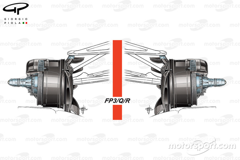 Mercedes W08 front brake duct, Saturday and Sunday, Azerbaijan GP