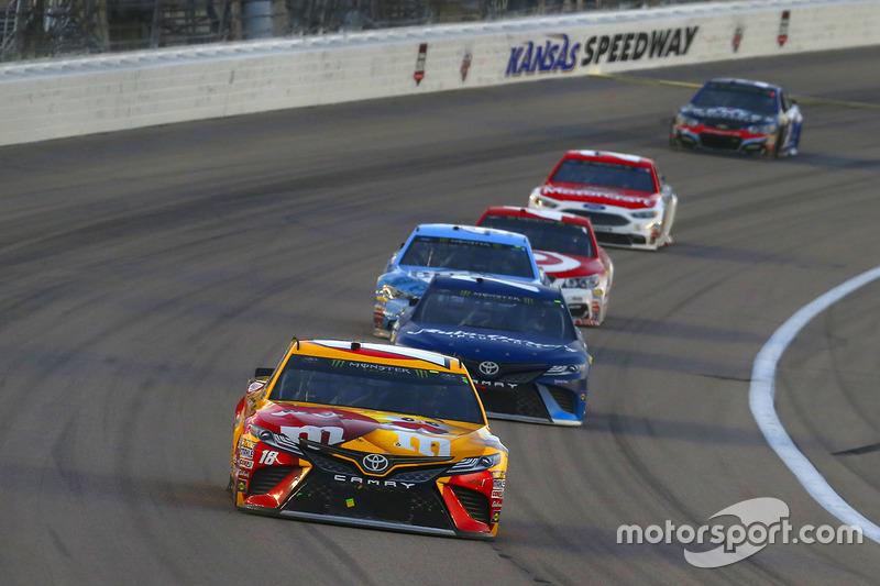 Kyle Busch Joe Gibbs Racing Toyota Martin Truex Jr Furniture Row Racing Toyota At Kansas