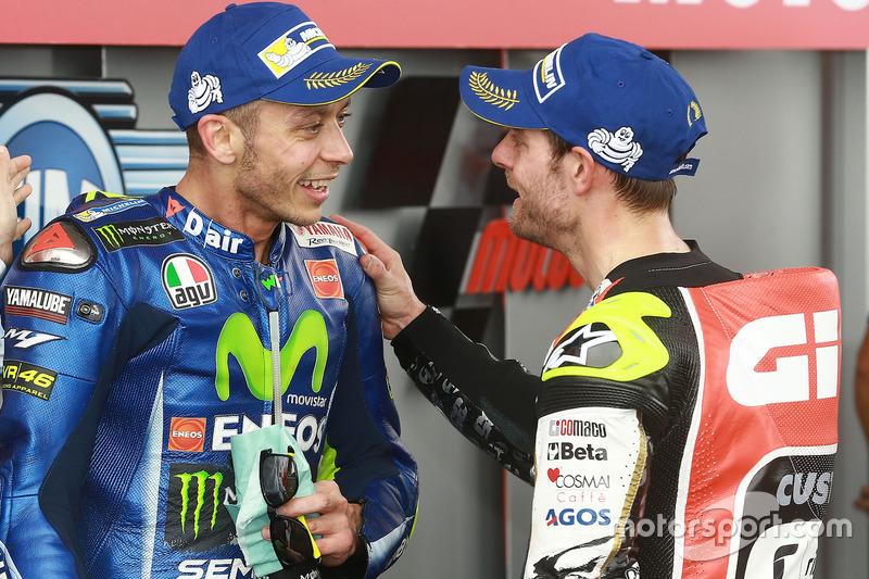 2. Valentino Rossi, Yamaha Factory Racing; 3. Cal Crutchlow, Team LCR Honda