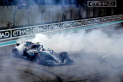 Race winner Valtteri Bottas, Mercedes-Benz F1 W08  celebrates in parc ferme and performs donuts