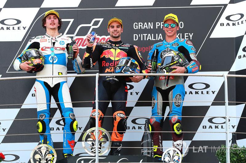 Podio: il vincitore della gara Miguel Oliveira, Red Bull KTM Ajo Moto2, il secondo classificato Lorenzo Baldassarri, Pons HP40 Miguel Oliveira, il terzo classificato Joan Mir, Marc VDS Moto2