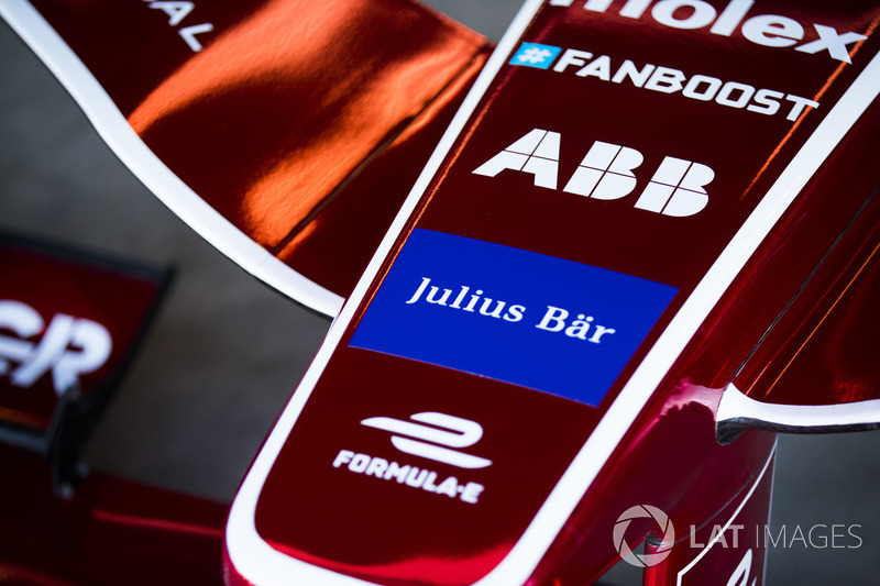 Fanboost, ABB, Julius Bar, Formule E logos on the nose of the car of Jerome D'Ambrosio, Dragon Racing
