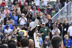 #5 Action Express Racing Cadillac DPi, P: Joao Barbosa celebrates in Victory Lane