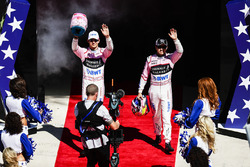 Esteban Ocon, Force India, Sergio Perez, Force India, at the drivers parade