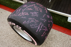 Signed pink Pirelli Ultra Soft tyre for breast cancer research