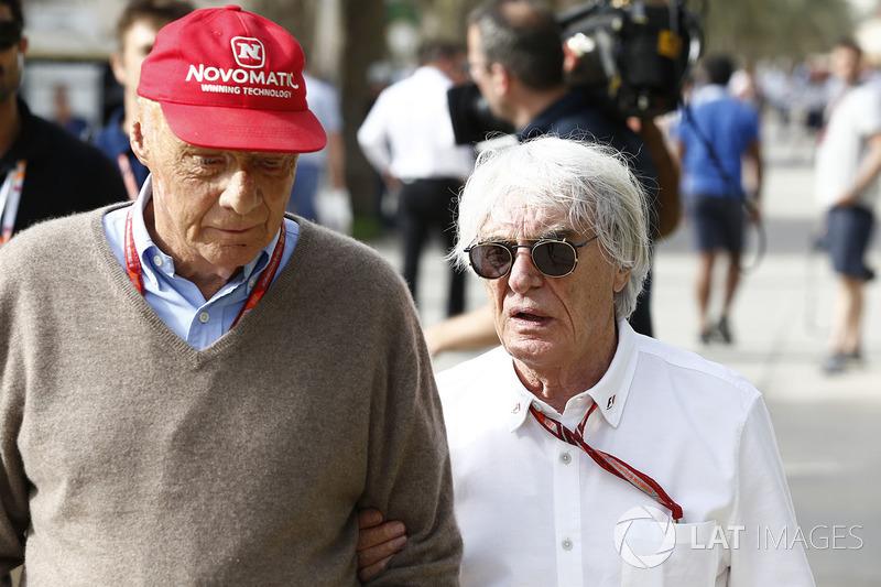 Niki Lauda, Mercedes AMG F1 Non-Executive Chairman and Bernie Ecclestone