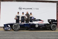 Valtteri Bottas, Pastor Maldonado, Susie Wolff, Development Driver, Williams F1, pose with the new Williams FW35