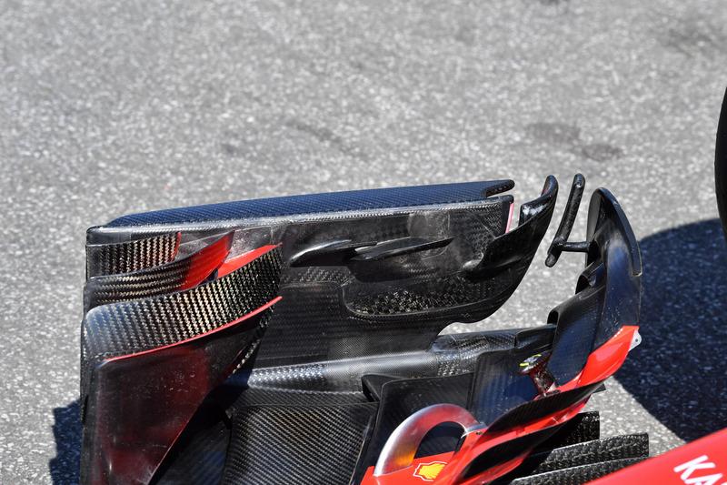 Detalle del ala delantera del Ferrari SF71H