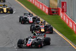 Kevin Magnussen, Haas F1 Team VF-18 Ferrari, leads Max Verstappen, Red Bull Racing RB14 Tag Heuer, Romain Grosjean, Haas F1 Team VF-18 Ferrari, and Nico Hulkenberg, Renault Sport F1 Team R.S. 18