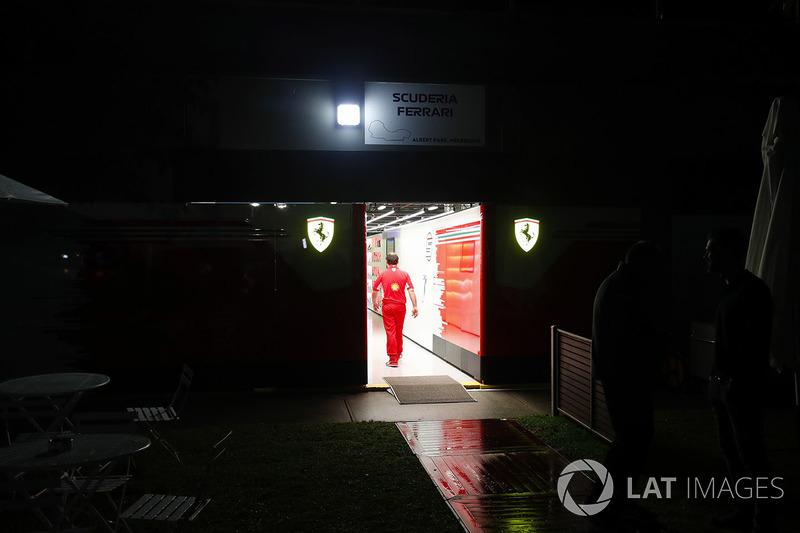 Night falls on the Ferrari garage