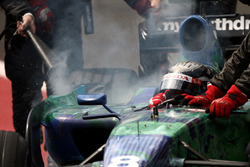 Rubens Barrichello, Honda RA107 retires in the pits