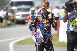 Sebastian Vettel, Red Bull Racing, celebrates pole position