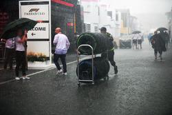 Pioggia nel Paddock dopo la gara