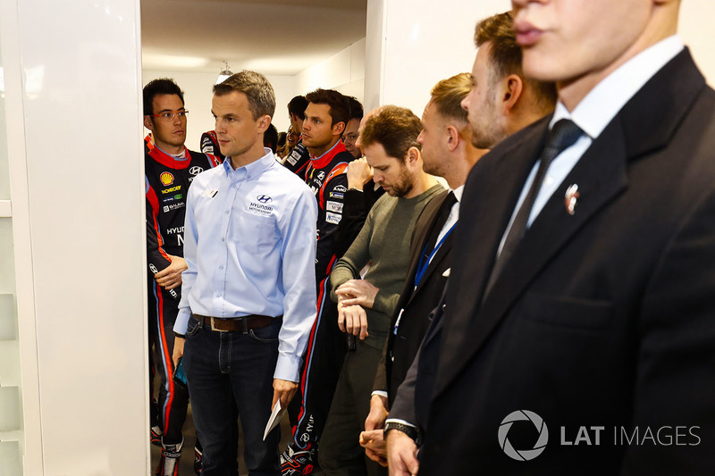 Hyundai drivers gather at the WRC launch