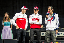 Charles Leclerc, Sauber and Marcus Ericsson, Sauber on stage