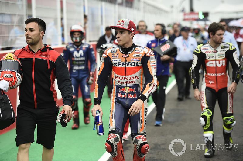 Marc Marquez, Repsol Honda Team, riders leaving the start grid,  Argentinian MotoGP race 2018