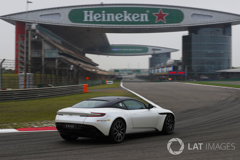 An Aston Martin DB11 is driven on Pirelli Hot Laps