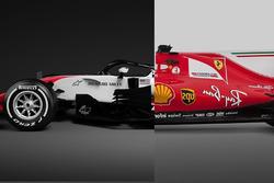 Comparación entre el Ferrari 2017 y el Haas 2018