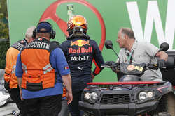 Race retiree Max Verstappen, Red Bull Racing, Race Marshals and Security after stopping on track
