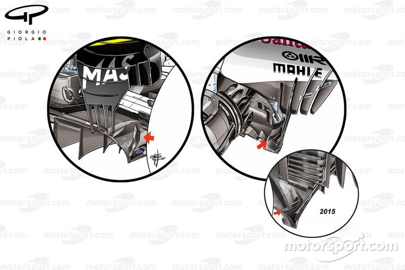 Difusor del Williams FW40, Ferrari SF70H y Ferrari SF15-T