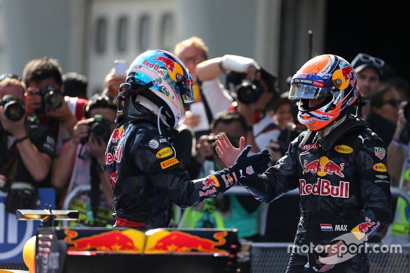 Second place Max Verstappen, Red Bull Racing and race winner Daniel Ricciardo, Red Bull Racing
