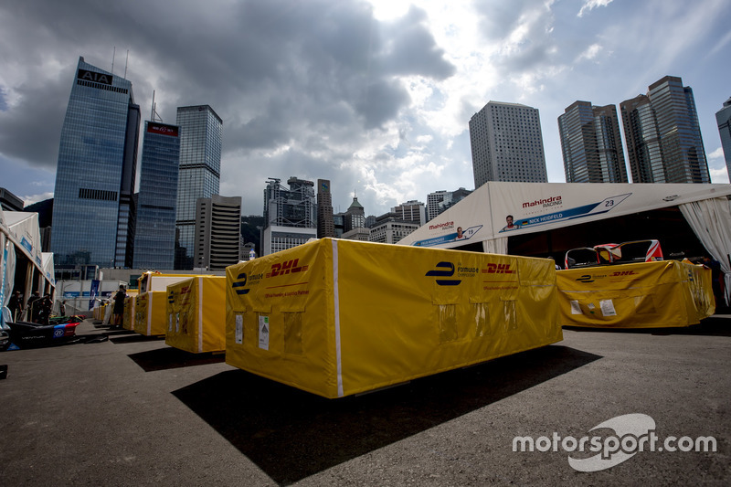 A transport box in the pit lane