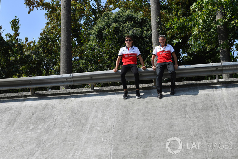 Charles Leclerc, Alfa Romeo Sauber F1 Team and Xevi Pujolar, Alfa Romeo Sauber F1 Team Head of Track Engineering on the Monza banking