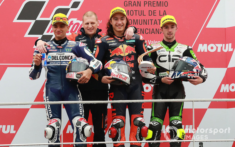 Podium: race winner Can Oncu, Red Bull KTM Ajo, second place Jorge Martin, Del Conca Gresini Racing, third place John McPhee, CIP Green Power, Aki Ajo, Ajo Motorsport Team Principal