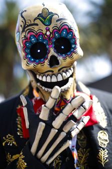 A skeleton in traditional Mexican costume