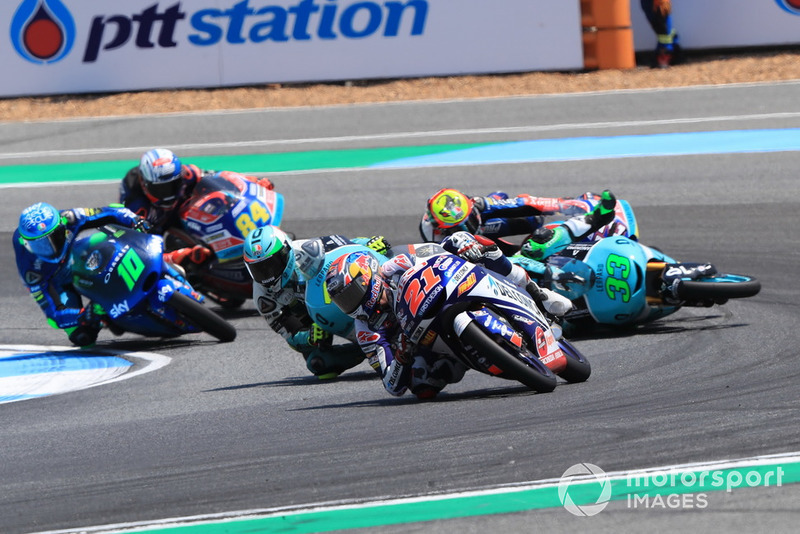Fabio Di Giannantonio, Del Conca Gresini Racing Moto3 leads, Enea Bastianini, Leopard Racing nd Marco Bezzecchi, Prustel GP