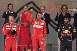 Kimi Raikkonen, Ferrari, race winner Sebastian Vettel, Ferrari and Daniel Ricciardo, Red Bull Racing RB13