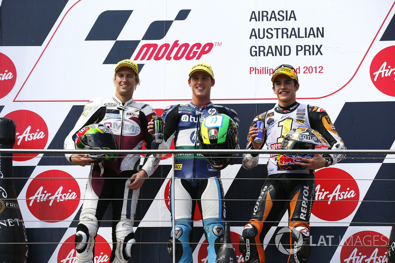 Podio: 1º Pol Espargaró, 2º Anthony West, 3º Marc Márquez