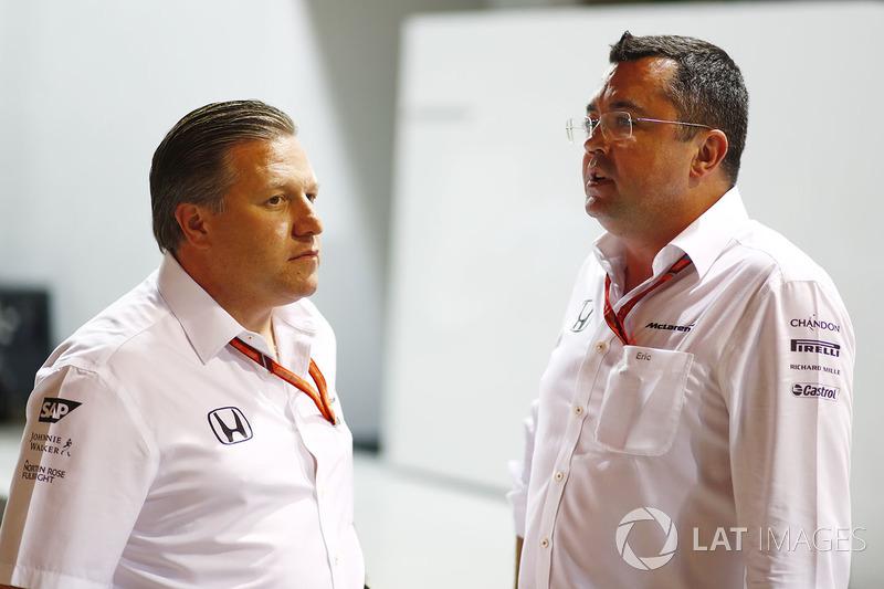 Zak Brown, McLaren-Chef, Eric Boullier, McLaren-Rennleiter
