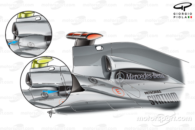 Mercedes W01 airbox comparison, full blade design used at this race, rather than compromises inset