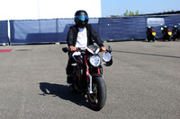 Lewis Hamilton, Mercedes AMG F1 arrives on his MV Agusta Dragster RR LH44 Limited Edition motorbike and