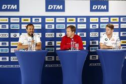 Gary Paffett, Mercedes-AMG Team HWA, Mercedes-AMG C63 DTM, Mattias Ekström, Audi Sport Team Abt Sportsline, Audi A5 DTM, Marco Wittmann, BMW Team RMG, BMW M4 DTM en la conferencia