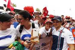 Felipe Massa, Williams, poses for a photo, some dedicated fans