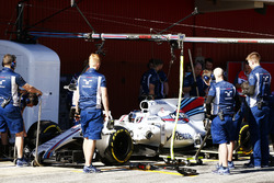 Lance Stroll, Williams FW40, stops in his pit