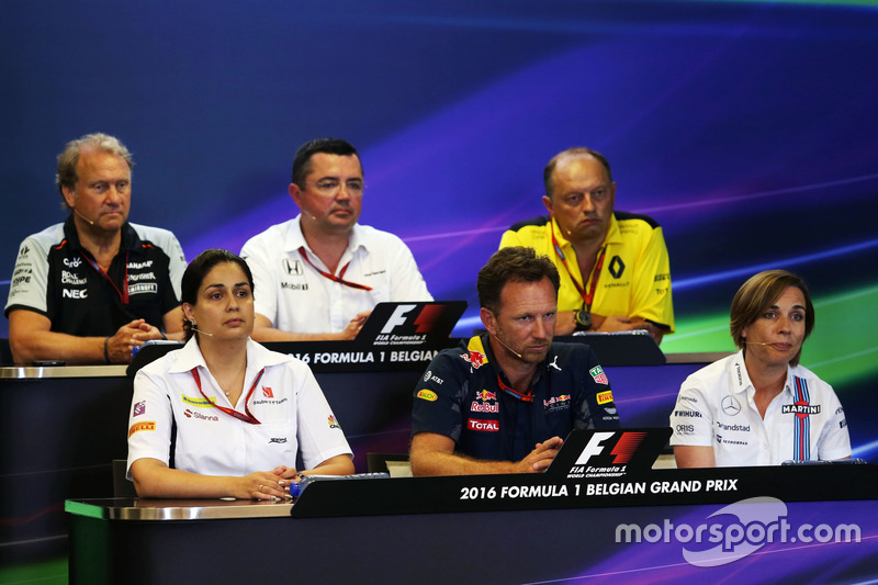 The FIA Press Conference (from back row (L to R)): Robert Fernley, Sahara Force India F1 Team Deputy Team Principal; Eric Boullier, McLaren Racing Director; Frederic Vasseur, Renault Sport F1 Team Racing Director; Monisha Kaltenborn, Sauber Team Principal; Christian Horner, Red Bull Racing Team Principal; Claire Williams, Williams Deputy Team Principal