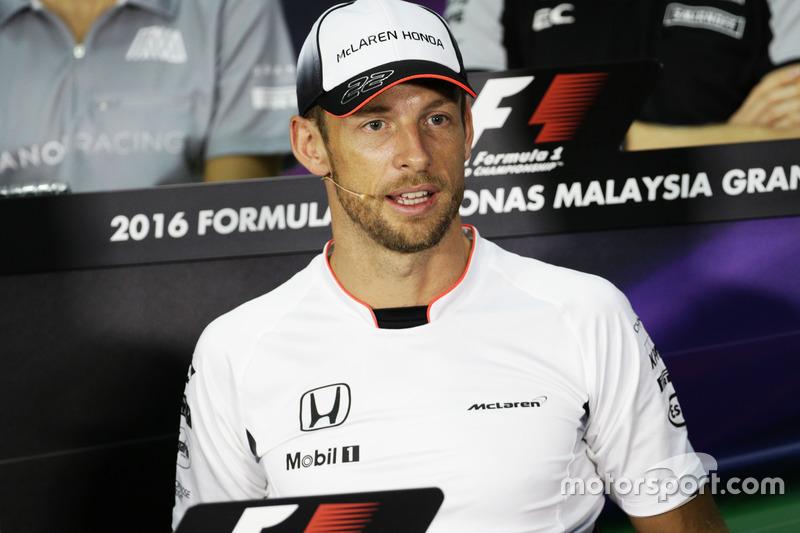 Jenson Button, McLaren in der FIA Pressekonferenz