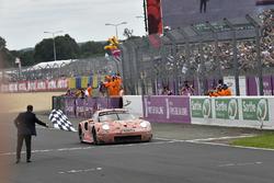 #92 Porsche GT Team Porsche 911 RSR: Michael Christensen, Kevin Estre, Laurens Vanthoor crosses the finish line for the GTLM Pro class win