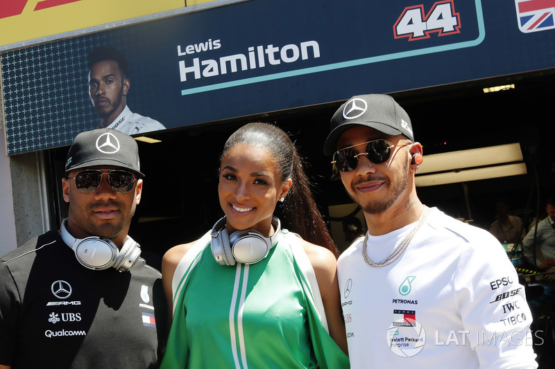 Russell Wilson, Ciara and Lewis Hamilton, Mercedes AMG F1