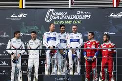 LMGTE Pro podium: #92 Porsche GT Team Porsche 911 RSR: Michael Christensen, Kevin Estre, #66 Ford Chip Ganassi Racing Ford GT: Stefan Mücke, Olivier Pla, Billy Johnson, #71 AF Corse Ferrari 488 GTE EVO: Davide Rigon, Sam Bird