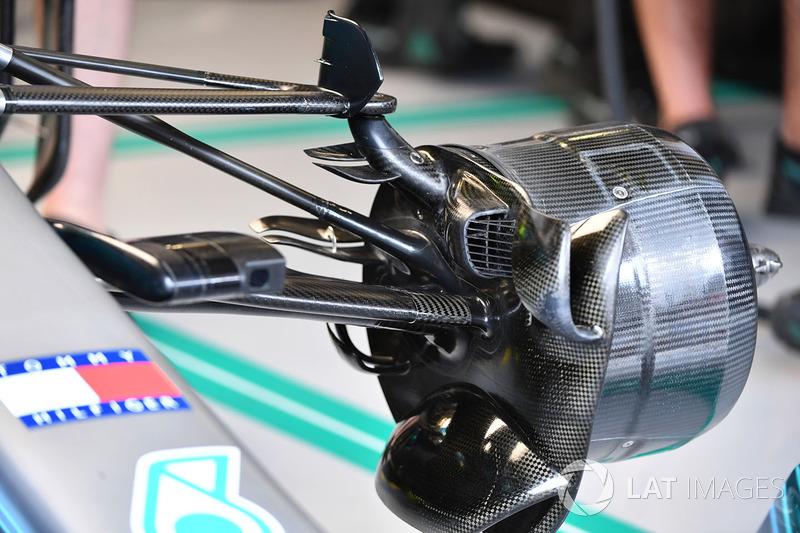 Detalle de los frenos delanteros del Mercedes-AMG F1 W09