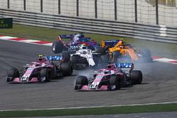 Sergio Perez, Force India VJM11 Mercedes, Esteban Ocon, Force India VJM11 Mercedes, Sergey Sirotkin, Williams FW41 Mercedes, Stoffel Vandoorne, McLaren MCL33 Renault, Brendon Hartley, Toro Rosso STR13 Honda