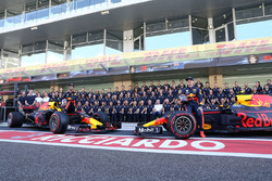 Max Verstappen, Red Bull Racing and Daniel Ricciardo, Red Bull Racing at the Red Bull Racing Team photo