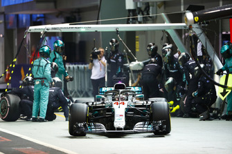 Lewis Hamilton, Mercedes AMG F1 W09 EQ Power+, leaves his pit box after a stop